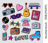 fashion patch badges in 70s 80s ... | Shutterstock .eps vector #508193491