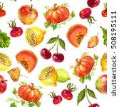 watercolor pattern fruits... | Shutterstock . vector #508195111