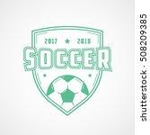 soccer emblem green line icon... | Shutterstock .eps vector #508209385
