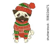 Happy Winter Pug Dog  Vector...