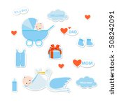baby shower stickers. baby boy... | Shutterstock .eps vector #508242091