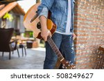 young hipster man playing... | Shutterstock . vector #508249627