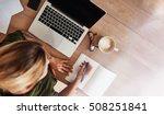 top view shot of woman sitting... | Shutterstock . vector #508251841