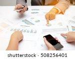 group coworkers having... | Shutterstock . vector #508256401