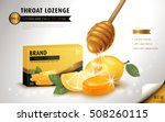 honey lemon throat lozenge  ads ... | Shutterstock .eps vector #508260115