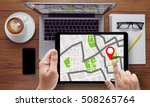 gps map to route destination... | Shutterstock . vector #508265764