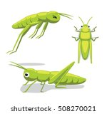 Cute Grasshopper Poses Cartoon...