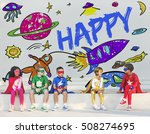 kids imagination space rocket... | Shutterstock . vector #508274695