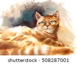 Watercolor Red Yellow Tabby Ca...