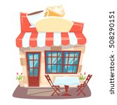 cafe shop front. street local...   Shutterstock . vector #508290151