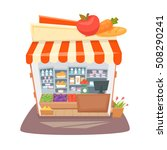 grocery store interior. street... | Shutterstock . vector #508290241