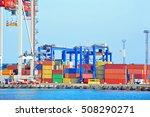 port cargo crane and container... | Shutterstock . vector #508290271