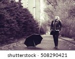 woman with an umbrella in the... | Shutterstock . vector #508290421