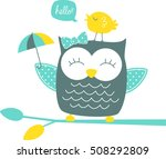 cute happy owl and singing... | Shutterstock .eps vector #508292809