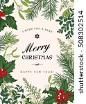 greeting christmas card in... | Shutterstock .eps vector #508302514