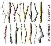 hand drawn wood twig set  ink... | Shutterstock .eps vector #508304425
