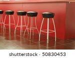 Black Stool In Interior Of Bar...