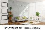 modern bright interior . 3d... | Shutterstock . vector #508335589