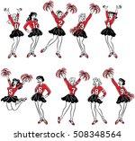 retro comic art cheerleaders... | Shutterstock .eps vector #508348564