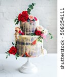 wedding cake with flowers  figs ... | Shutterstock . vector #508354111