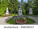 Small photo of VIENNA, AUSTRIA - JUNE 26, 2016: Graves of composers Wolfgang Amadeus Mozart, Ludwig van Beethoven and Franz Schubert at the Zentralfriedhof Cemetery in Vienna, Austria.