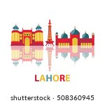 colorful lahore buildings with...   Shutterstock .eps vector #508360945