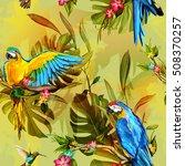 seamless pattern of parrots on...   Shutterstock .eps vector #508370257