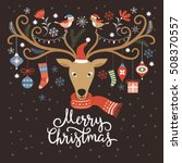 christmas card  christmas deer... | Shutterstock .eps vector #508370557