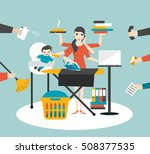 multitask woman. mother ... | Shutterstock .eps vector #508377535