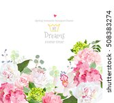 pink and green hydrangea  rose  ... | Shutterstock .eps vector #508383274