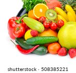 fruits and vegetables isolated... | Shutterstock . vector #508385221