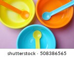 bright baby tableware on color... | Shutterstock . vector #508386565
