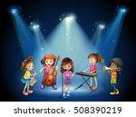 children playing music in... | Shutterstock .eps vector #508390219