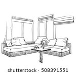 hand drawn sketch of modern... | Shutterstock .eps vector #508391551