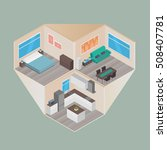 isometric house rooms  home set | Shutterstock .eps vector #508407781