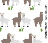 seamless pattern with lamas and ... | Shutterstock .eps vector #508408384