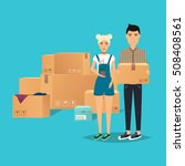 young couple moving. box for... | Shutterstock .eps vector #508408561