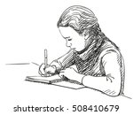 sketch of girl writing in... | Shutterstock .eps vector #508410679
