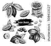 vector cocoa hand drawn sketch .... | Shutterstock .eps vector #508413127