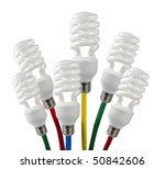 New Bright Ideas - Fluorescent Light Bulbs attached to a colored network cables - stock photo