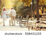 Stock photo senior couple and big dog walking in park 508431235