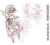angel girl sketch isolated on... | Shutterstock .eps vector #508432885