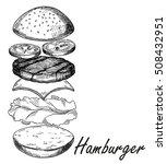 hamburger isolated hand sketch. ... | Shutterstock .eps vector #508432951