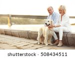 Stock photo senior couple and big dog on bund 508434511