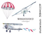watercolor aviation set. hand... | Shutterstock . vector #508441159