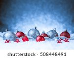 christmas ornament in snow on... | Shutterstock . vector #508448491