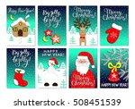 christmas card set with santa... | Shutterstock .eps vector #508451539