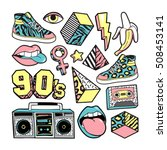 memphis fashion patch badges... | Shutterstock .eps vector #508453141