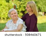 senior woman with her caregiver ... | Shutterstock . vector #508460671
