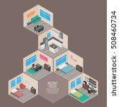 isometric house rooms  home set | Shutterstock .eps vector #508460734